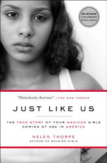 the cover of Just Like Us by Helen Thorpe, showing a grayscale photo of a young Mexican girl looking directly at the camera