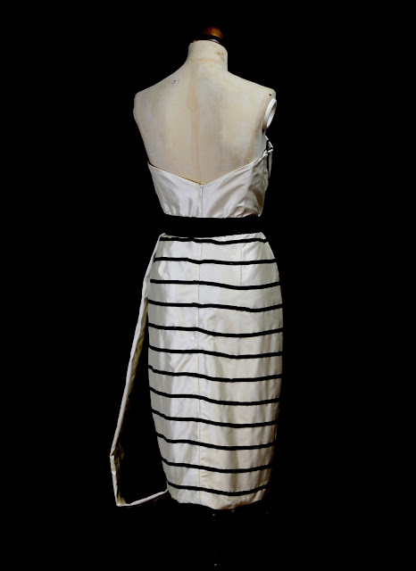 stripe couture cocktail dress