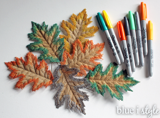 Edge colored burlap leaves
