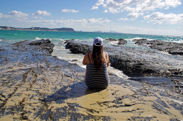 Girl at Currumbin Beach Rockpools Gold Coast