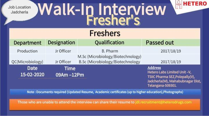 Hetero - Walk in Interview for Fresher - Production, Quality Control on 15th Feb 2020