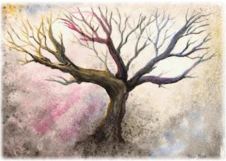 watercolor tree, seasonal art, ACEO affordable art