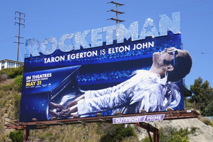 Rocketman movie glittering logo billboard