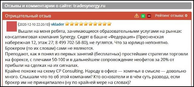 Отзывы о сайте: tradesynergy.ru.