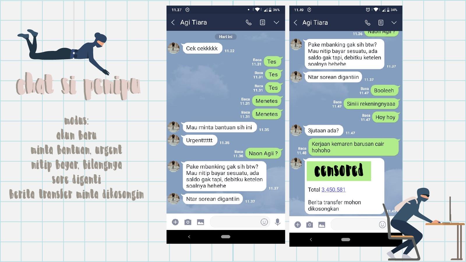 contoh chat penipuan di messenger app