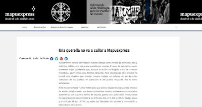 DECLARACIÓN PÚBLICA ante querella por injurias en contra de Colectivo Editorial Mapuexpress