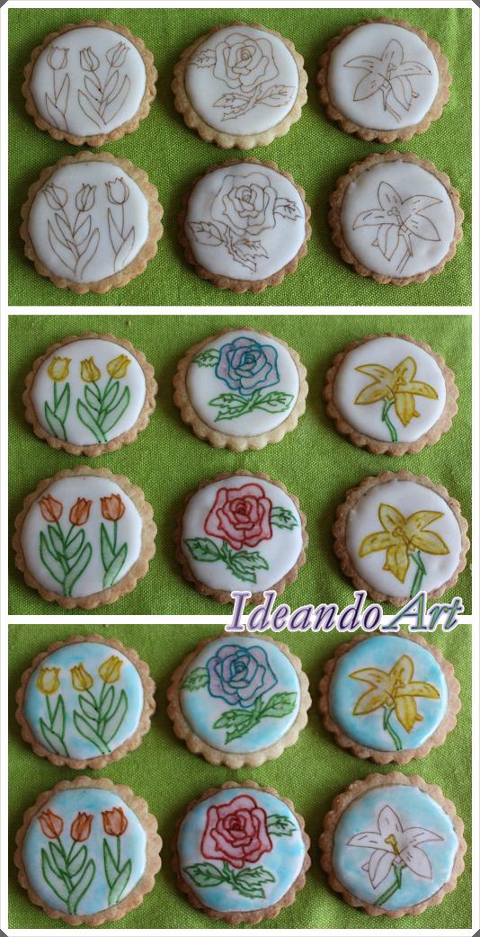 Pintando flores galletas