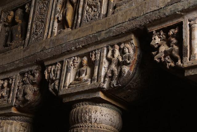 Highly Ornate Pillar Capitals of Ajanta Cave 19