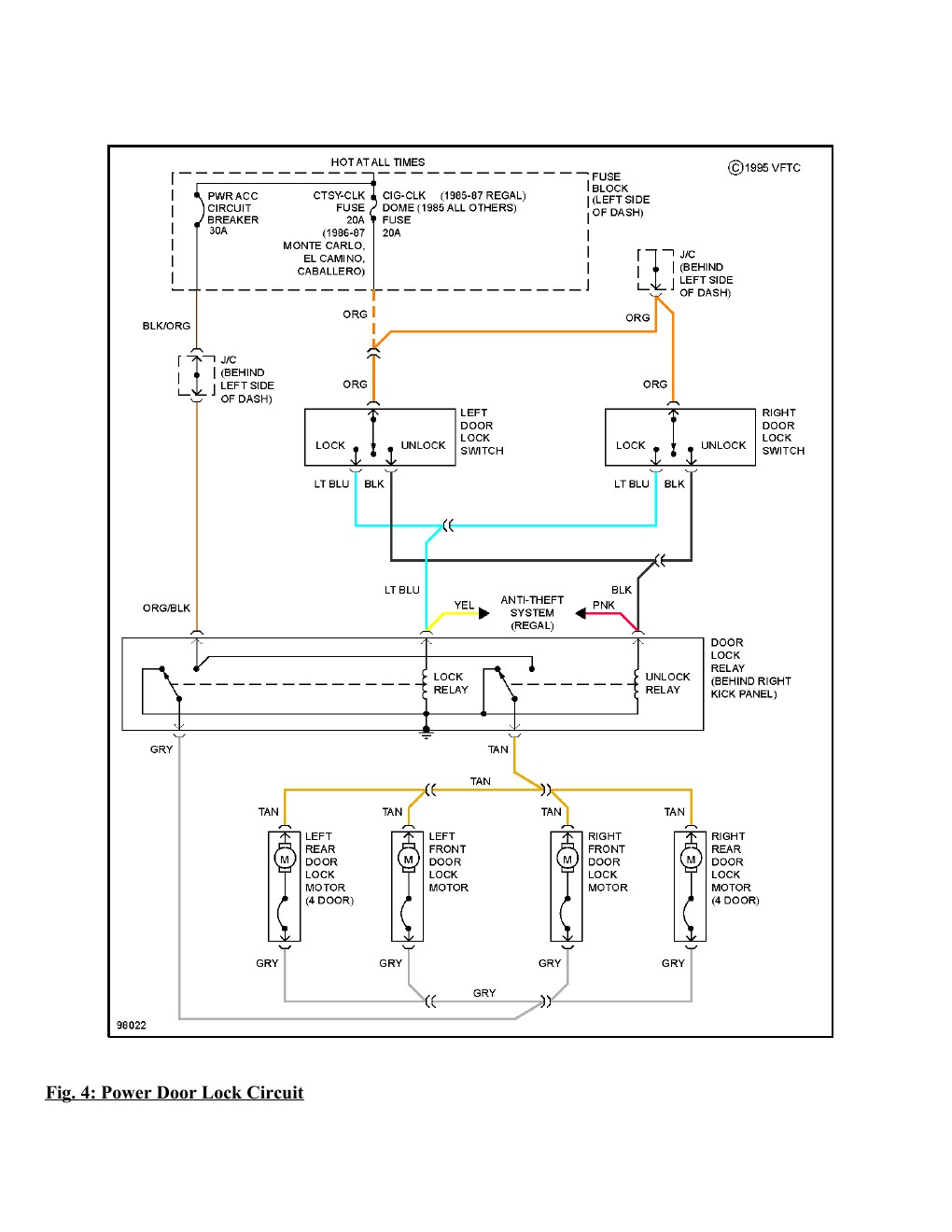 1995 Chevrolet Monte Carlo SS Complete Wiring Diagram Part
