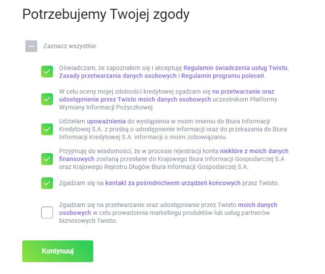 Zgody wymagane we wniosku o Twisto objętym promocją z bonusem 100 zł