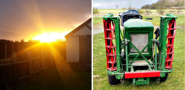 The sun setting and my dad's old lawnmower