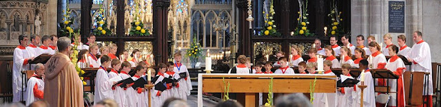 Ely Cathedral Choir during a service in the Cathedral