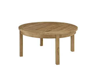 Modern Contemporary Outdoor Patio Teak Round Coffee Table