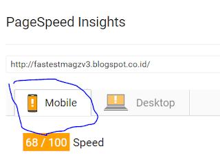 Kecepatan loading Fastest Magz dari PageSpeed Google