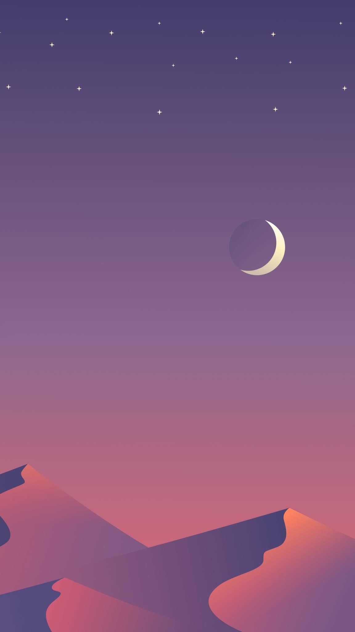 Stars moon minimal wallpaper