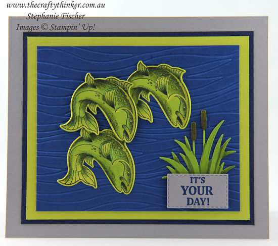 #thecraftythinker #stampinup #bestcatch #masculinecard #cardmaking #inkitstampitbloghop , Best Catch, Masculine Card, Ink It Stamp It Blog Hop, Seaside Embossing Folder, Stampin' Up Australia Demonstrator, Stephanie Fischer, Sydney NSW