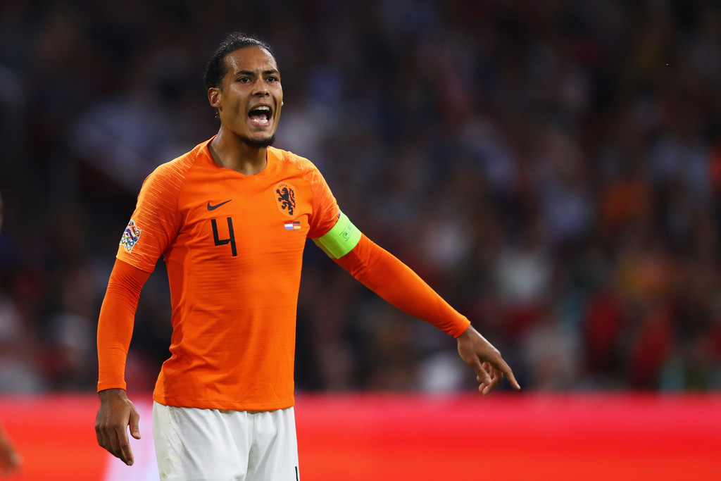 Virgil Van Dijk of the Netherlands shouts instructions during the UEFA Nations League A group one match between Netherlands and Germany at Johan Cruyff Arena on October 13, 2018 in Amsterdam, Netherlands