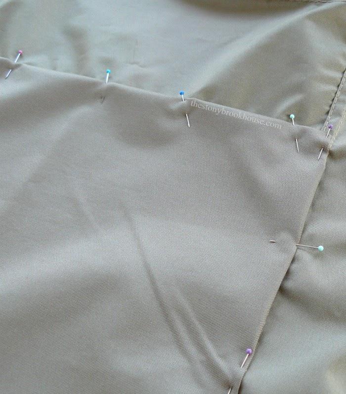 gazebo sun shade pinned to curtain