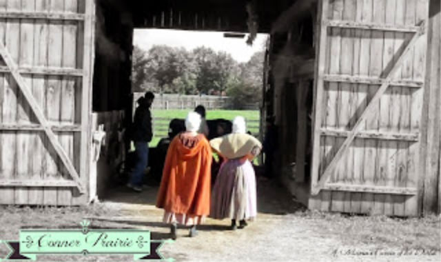 costumed characters at the Conner Prairie historical farm site