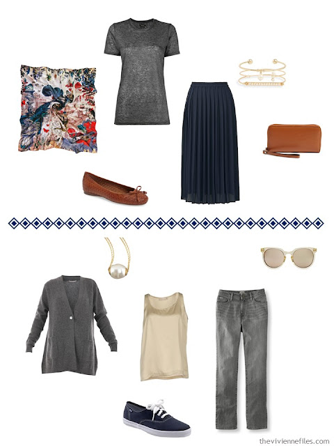 two outfits from a navy, grey and camel capsule wardrobe