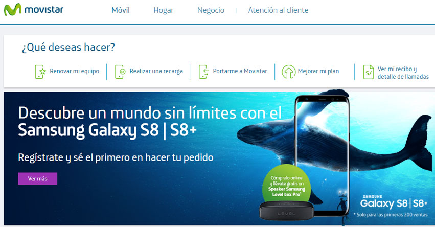 Preventa Samsung Galaxy S8 y S8+ Movistar Abril 2017 - www.movistar.com.pe
