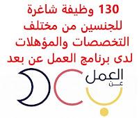 130 وظيفة شاغرة للجنسين من مختلف التخصصات والمؤهلات لدى برنامج العمل عن بعد تعلن وزارة الموارد البشرية والتنمية الاجتماعية السعودية, عن توفر 130 وظيفة شاغرة للجنسين من مختلف التخصصات والمؤهلات عبر برنامج العمل عن بعد وذلك للمجالات التالية: 1- خدمة العملاء 2- التحصيل 3- الاستشارات 4- المساندة الإدارية 5- التسويق الإلكتروني 6- الترجمة 7- الاستعلامات ومراكز الاتصال 8- إدخال البيانات 9- تصميم الجرافيك 10- الكتابة الإدارية 11- تقنية المعلومات 12- البرمجة 13- التصميم 14- المحاسبة 15- العلاقات العامة 16- التحرير وإدارة المحتوى 17- الأعمال الإدارية 18- إدارة مواقع التواصل 19- الدعم الفني 20- إعداد التقارير 21- المبيعات 22- المشتريات 23- تدقيق الحسابات 24- ومجالات أخرى متنوعة يشترط البرنامج في المتقدمين للوظائف ما يلي: - أن يكون المتقدم/ة للوظيفة سعودي/ة الجنسية - أن يكون عمر المتقدم/ة للوظيفة من 18 إلى 60 سنة - أن يجيد المتقدم/ة للوظيفة استخدام أجهزة التقنية الحديثة - أن يكون لديه حساب أبشر مفعل  للتـقـدم لأيٍّ من الـوظـائـف أعـلاه وغيرها اضـغـط عـلـى الـرابـط هنـا     اشترك الآن في قناتنا على تليجرام        شاهد أيضاً: وظائف شاغرة للعمل عن بعد في السعودية       شاهد أيضاً وظائف الرياض   وظائف جدة    وظائف الدمام      وظائف شركات    وظائف إدارية                           لمشاهدة المزيد من الوظائف قم بالعودة إلى الصفحة الرئيسية قم أيضاً بالاطّلاع على المزيد من الوظائف مهندسين وتقنيين   محاسبة وإدارة أعمال وتسويق   التعليم والبرامج التعليمية   كافة التخصصات الطبية   محامون وقضاة ومستشارون قانونيون   مبرمجو كمبيوتر وجرافيك ورسامون   موظفين وإداريين   فنيي حرف وعمال     شاهد يومياً عبر موقعنا نتائج الوظائف وزارة الشؤون البلدية والقروية توظيف وظائف سائقين نقل ثقيل اليوم وظائف بنك ساب وظائف مستشفى الملك خالد للعيون وظائف حراس أمن بدون تأمينات الراتب 3600 ريال مطلوب عامل مستشفى الملك خالد للعيون توظيف وظائف دبلوم محاسبة وظائف الخدمة الاجتماعية شركة ارامكو روان للحفر وظائف سائق خاص اليوم مطلوب مساح البنك السعودي للاستثمار توظيف ارامكو روان للحفر وظائف البريد السعودي البريد السعودي وظائف البريد السعودي توظيف وظائف حراس امن في صيدلية الدواء عامل فلبيني يبحث عن عمل وظائف وزارة الصحة ٢