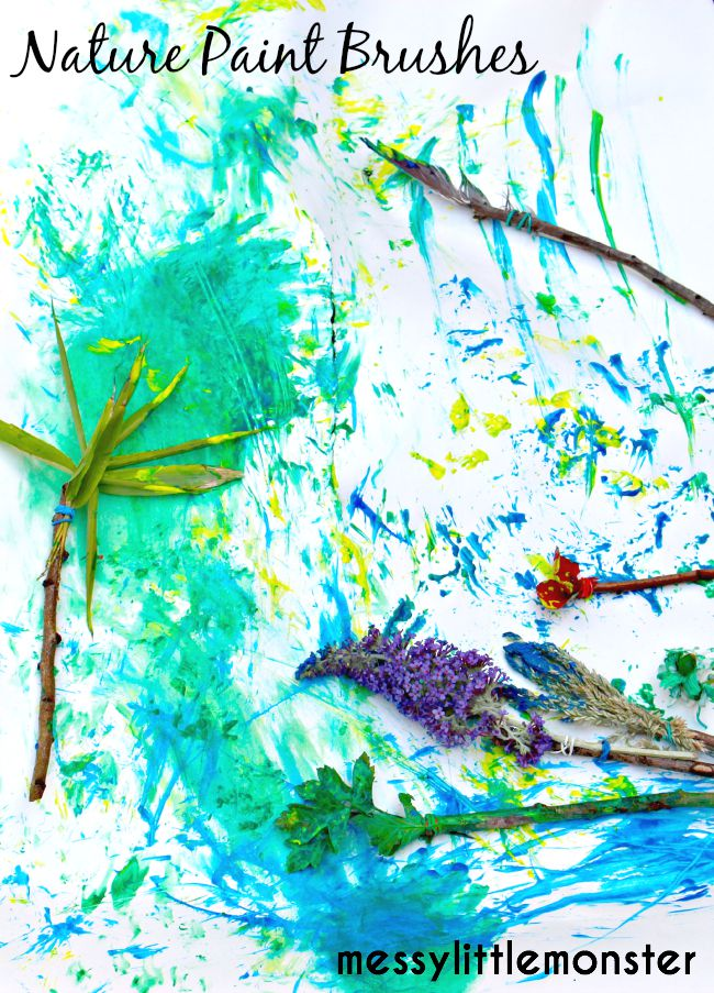 Process art using Nature paintbrushes