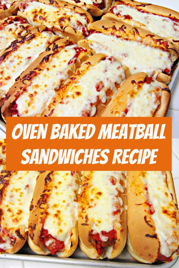 This oven baked meatball sandwich recipe is a perfect easy dinner idea for busy days. Also great for large groups, game day, or as an on-the-go meal. It's one of our most popular recipe. #dinner #dinnerideas #Sandwiches