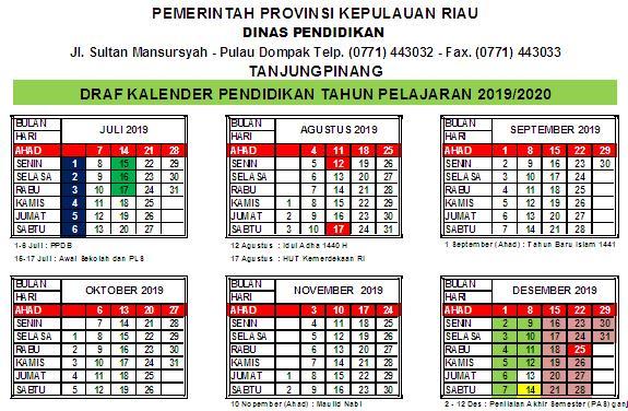 Kalender Pendidikan 2019/2020 Kepulauan Riau