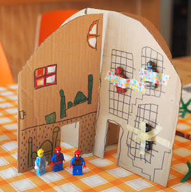 DIY Foldable, Collapsible Cardboard Superhero hideout home (and our favorite superhero books)