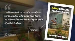 Este jueves 17 de septiembre arrancó la entrega del Bono Especial Quédate en Casa