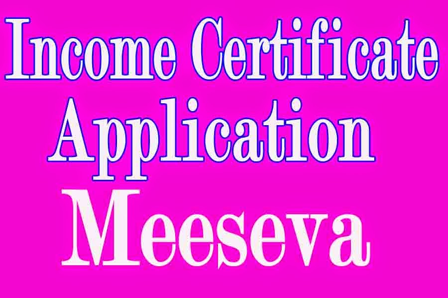 Income Certificate Application  Apply in Meeseva