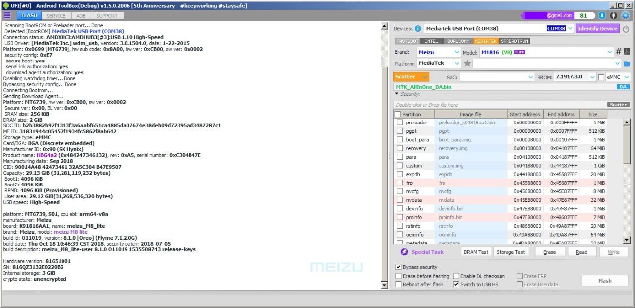 Preview UFI Update Bypass Mediatek Meizu M8 Lite MT6739