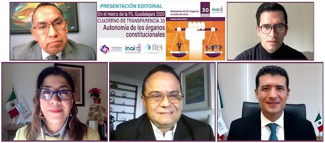 """Presenta INAI en FIL 2020 el cuaderno de transparencia 30 """"Autonomía de los órganos constitucionales"""""""