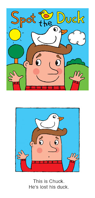 Pictures of a man with a duck on his head from the kindle picture book for kids