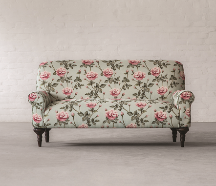 Brera 2 Seater__100% Linen _ Vintage Rose_Front View