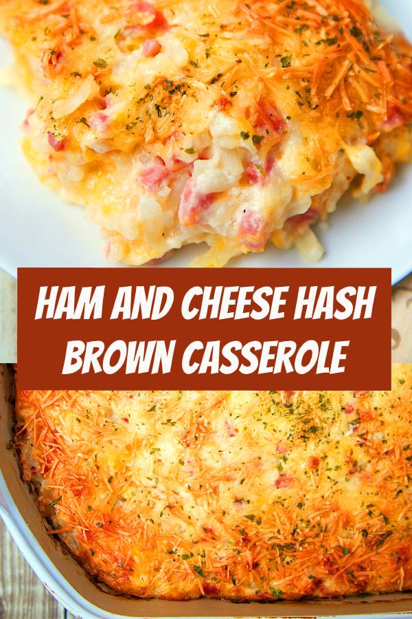 Ham and Cheese Hash Brown Casserole - only 6 ingredients!! Hash browns, ham, parmesan cheese, cheddar cheese, cream of potato soup, and sour cream. YUM! He took one bite and couldn't stop raving out this casserole!! Can make ahead of time and refrigerate or freeze for later. A new favorite in our house! #casserole #ham #leftoverham #freezermeal