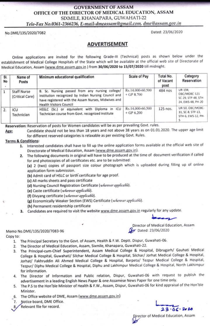 www.dme.assam.gov.in recruitment 2020  assam career  nhm assam  dme.assam.gov.in admit  dme assam paramedical  www.dme.assam.gov.in lakhimpur  diphu medical college recruitment  dme assam recruitment, lakhimpur  www.dme.assam.gov.in from 15th may 2020  assam job info  www.dme.assam.gov.in staff nurse  lakhimpur medical college job,Jobs, Jobs In Assam, Staff Nurse Jobs, government jobs, DME Assam Latest Recruitment Notification,DME/135/2020/7082,