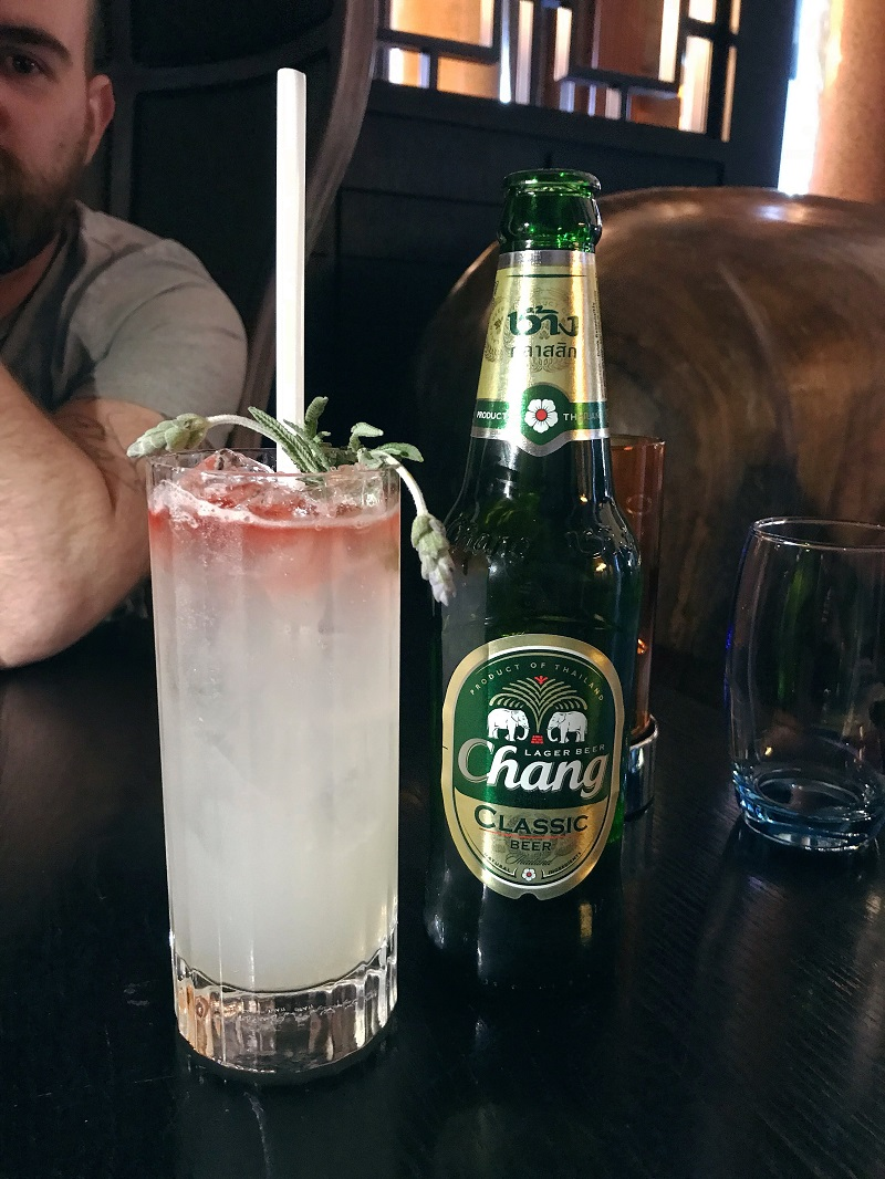 Chaophraya Chang beer and lychee collins