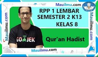 rpp-1-lembar-Qur'an Hadis-kelas-8-smp-semester-2