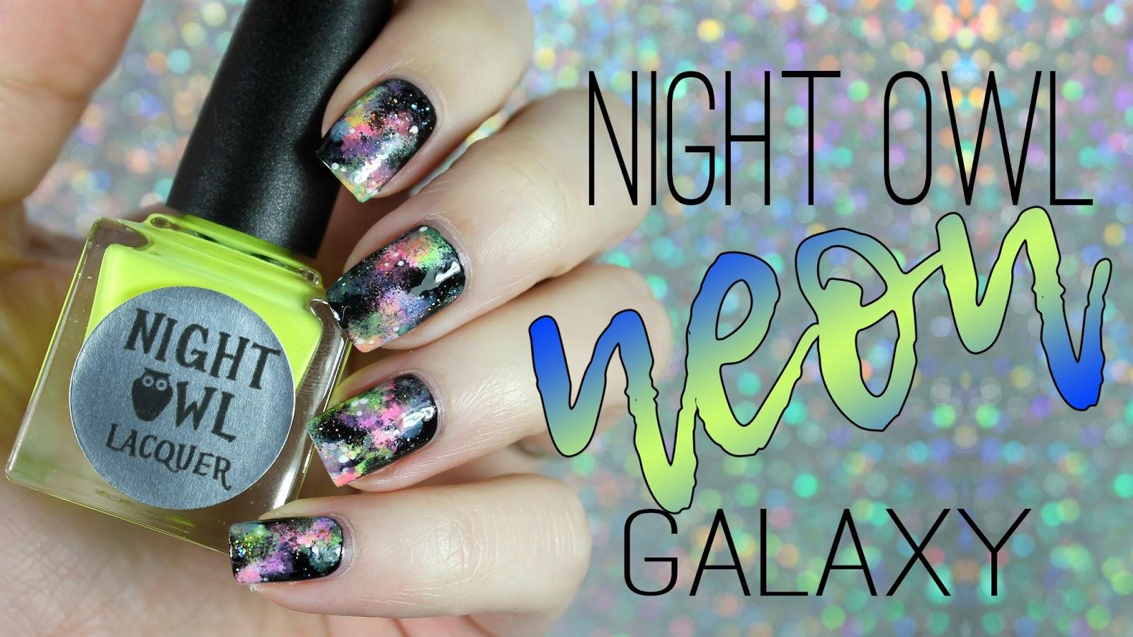 Bedlam Beauty: Night Owl Lacquer Neon Galaxy Nail Art
