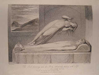 "An illustration of a figure reclining stiffly in bed, while a woman in a nightgown floats into the air, her feet nearly connected to the feet of the figure in bed. The caption reads ""The soul hovering over the body reluctantly parting with Life."""