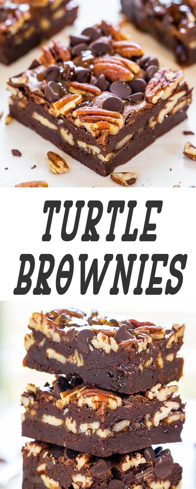 Turtle Brownies #brownies #cookies