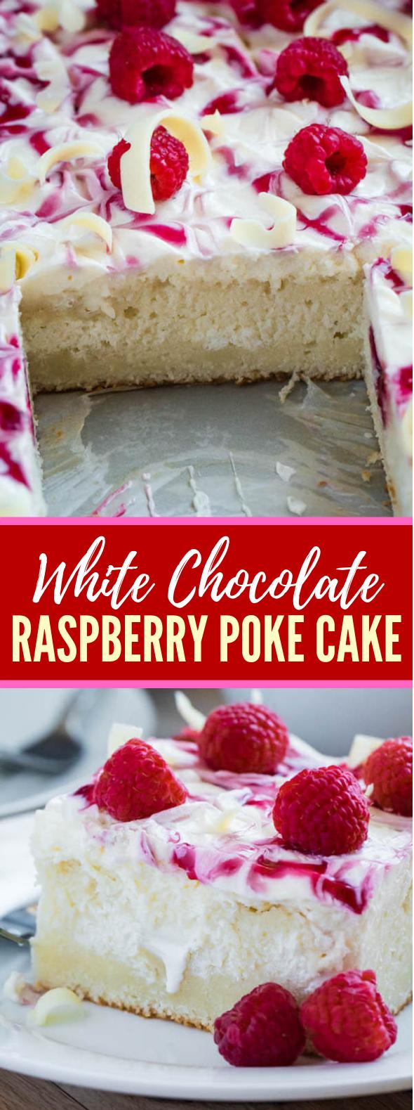 WHITE CHOCOLATE RASPBERRY POKE CAKE #desserts #berries
