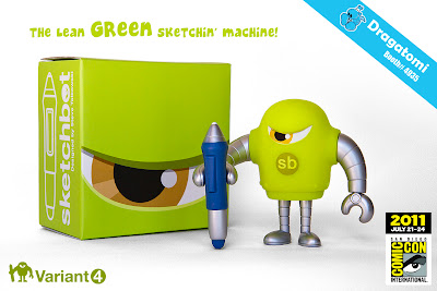 Sketchbot Vinyl Figure Green Variant by Steve Talkowski