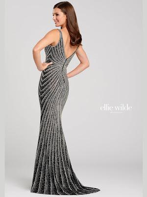 Ellie Wilde V neck Beaded Black-silver color prm dress