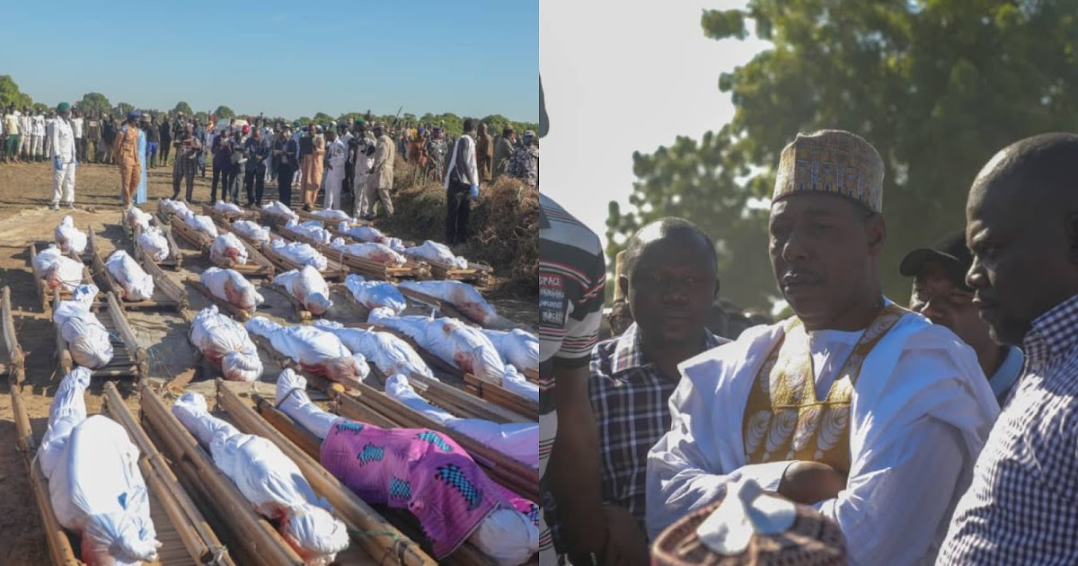 Governor Zulum leads relatives, residents to bury 43 farmers killed in Borno [Photos]