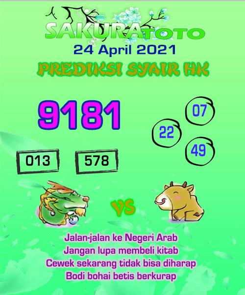 Syair HK Sabtu 24 April 2021 -