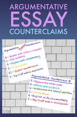 There are two great ways to ensure your middle school students have a counterclaim in their argumentative essays!