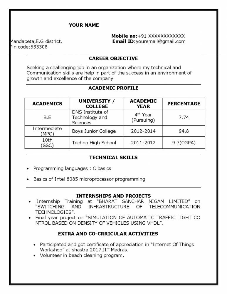Sample Resume For BTech ECE Student Resume - Freshers Download